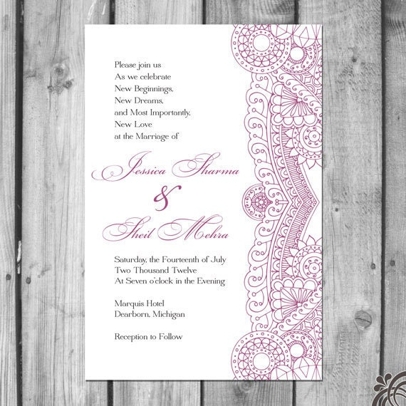 Indian Inspired Wedding Invitation Set Etsy