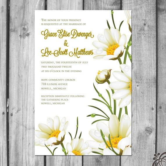 Daisy Wedding Invitation Set Etsy