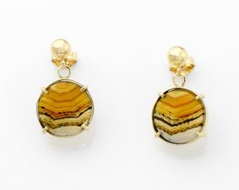 Banded Montana Agate Earrings in 14K Gold Orange Striped Agate Post Earrings Fine Handmade Jewelry
