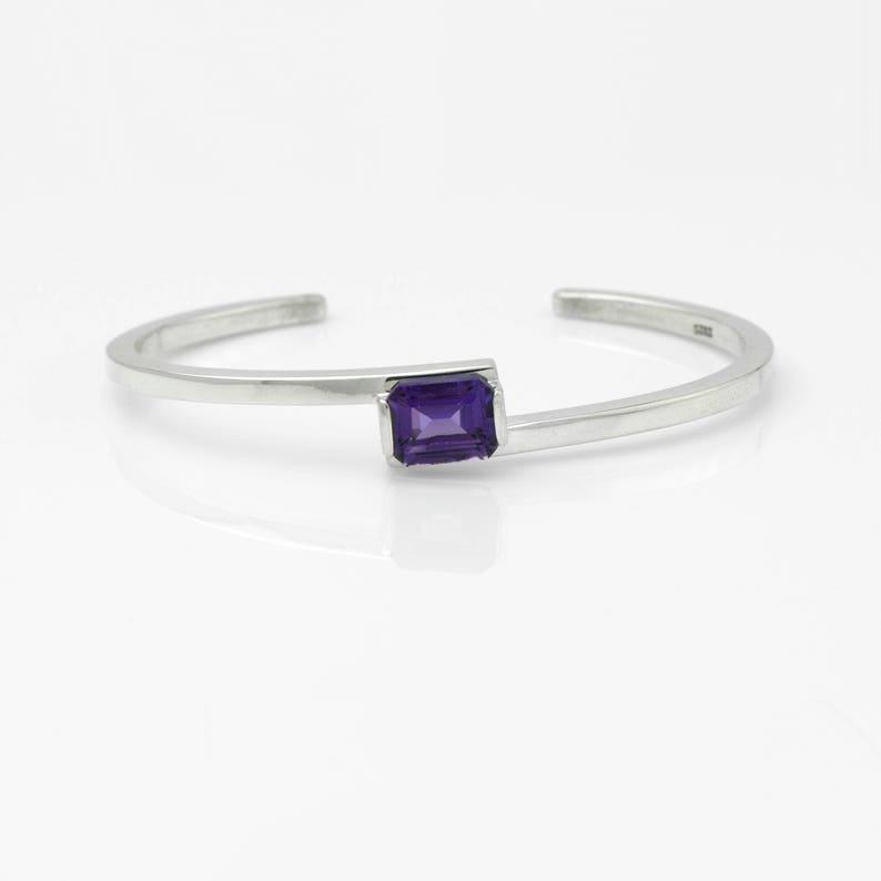 92ee1d015c8 Sleek Minamalist Sterling Silver Cuff Bracelet with Emerald | Etsy
