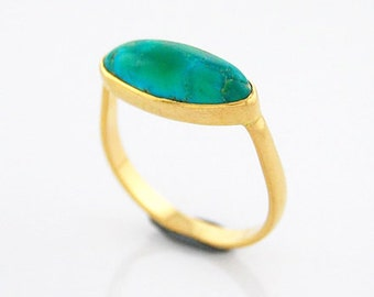 Turquoise Ring 14K Gold Ring Elongated Oval Turquoise Cabochon Ring 14K Yellow Gold December Birthstone Handmade Ring Bisbee Green Turquoise