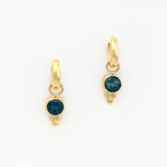 af68455271ed London Blue Topaz Earring Jackets in 14K Yellow Gold on Hoops