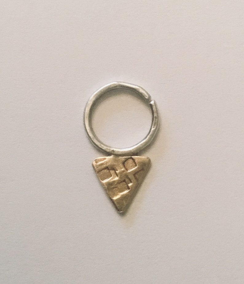 Tribal Triangle Septum Ring Silver and Brass Nose Ring