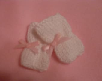 """10-12"""" White Booties with Pink Bows"""