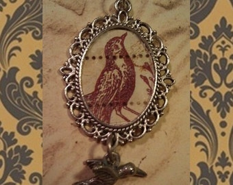 TREASURY ITEM: Vintage Robin Pendant with Bird Charm