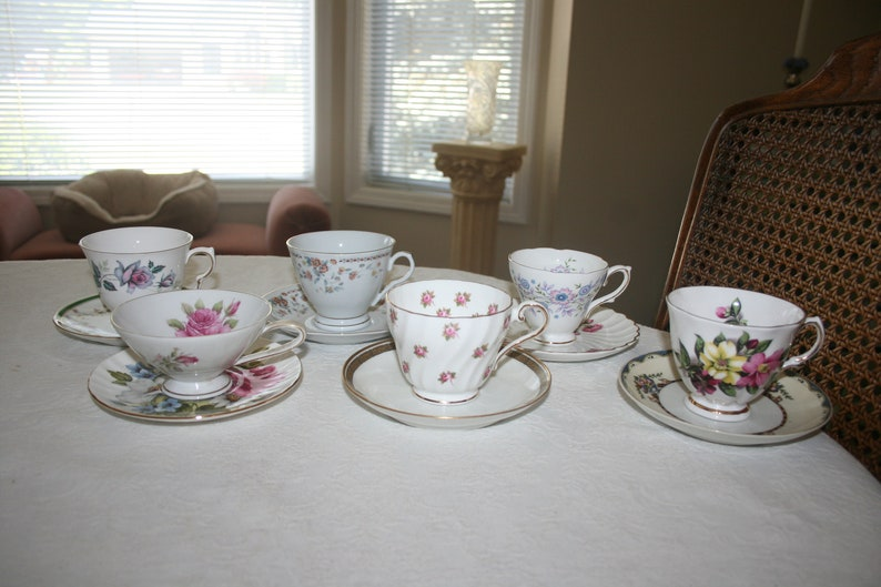 Vintage Eclectic Orphan Mismatched Set of Six Cups and Saucer Fine China Flower Floral Rose Tea Coffee Time
