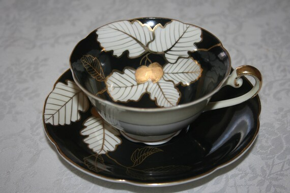 Vintage Diamond China, Fine Bone China, Made in Occupied Japan, Cup and  Saucer, White Black Gold