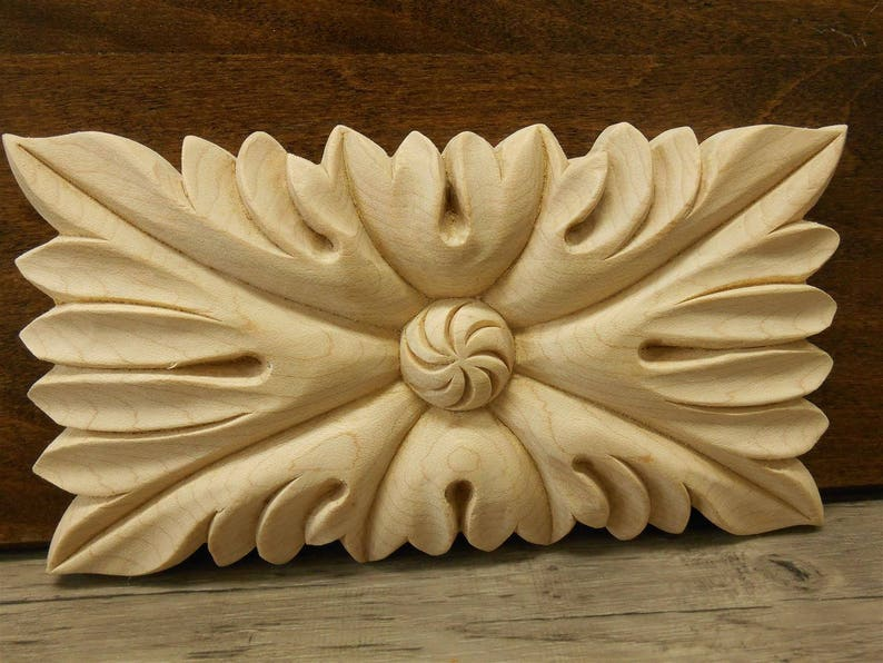 Rectangle leaf decorative wood applique furniture applique etsy