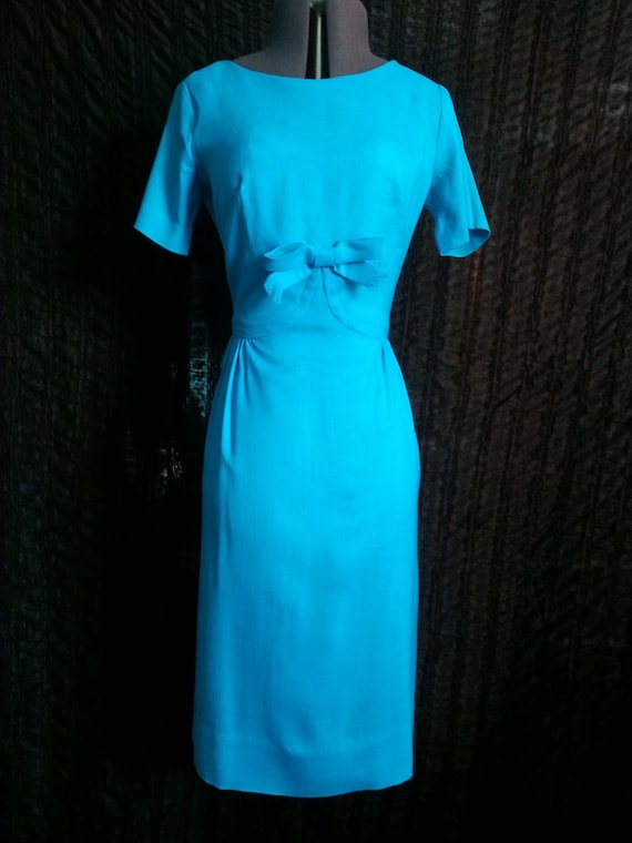 Betty Barclay Vintage Blue Dress Fitted Wiggle