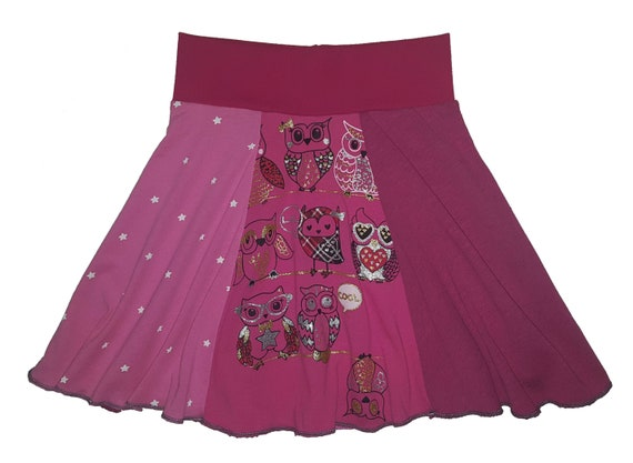 f77eb45908f89 Girls Hippie Skirt Size 5 6 Owl T-Shirt Skirt One of a Kind Handmade  Upcycled Owls Skirt recycled clothing Twinkle Skirts Twinklewear