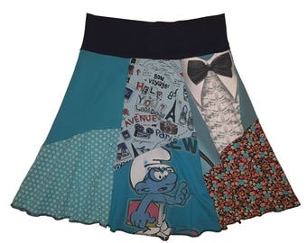 BIG SALE Smurf Skirt Half Price Clearance Sale Women's XS Smurf T-Shirt Skirt Hippie One of a kind Upcycled Recycled Skirt Twinklewear