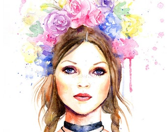 Watercolor Fashion Illustration - Fashion Model Kate Moss with Flower Headdress