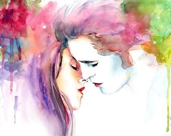 Twilight Bella and Edward Kiss Watercolor Painting Print
