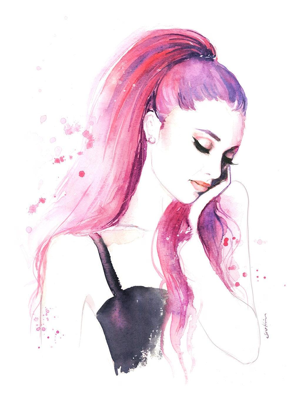Ariana Grande Watercolor Print Pink   Etsy