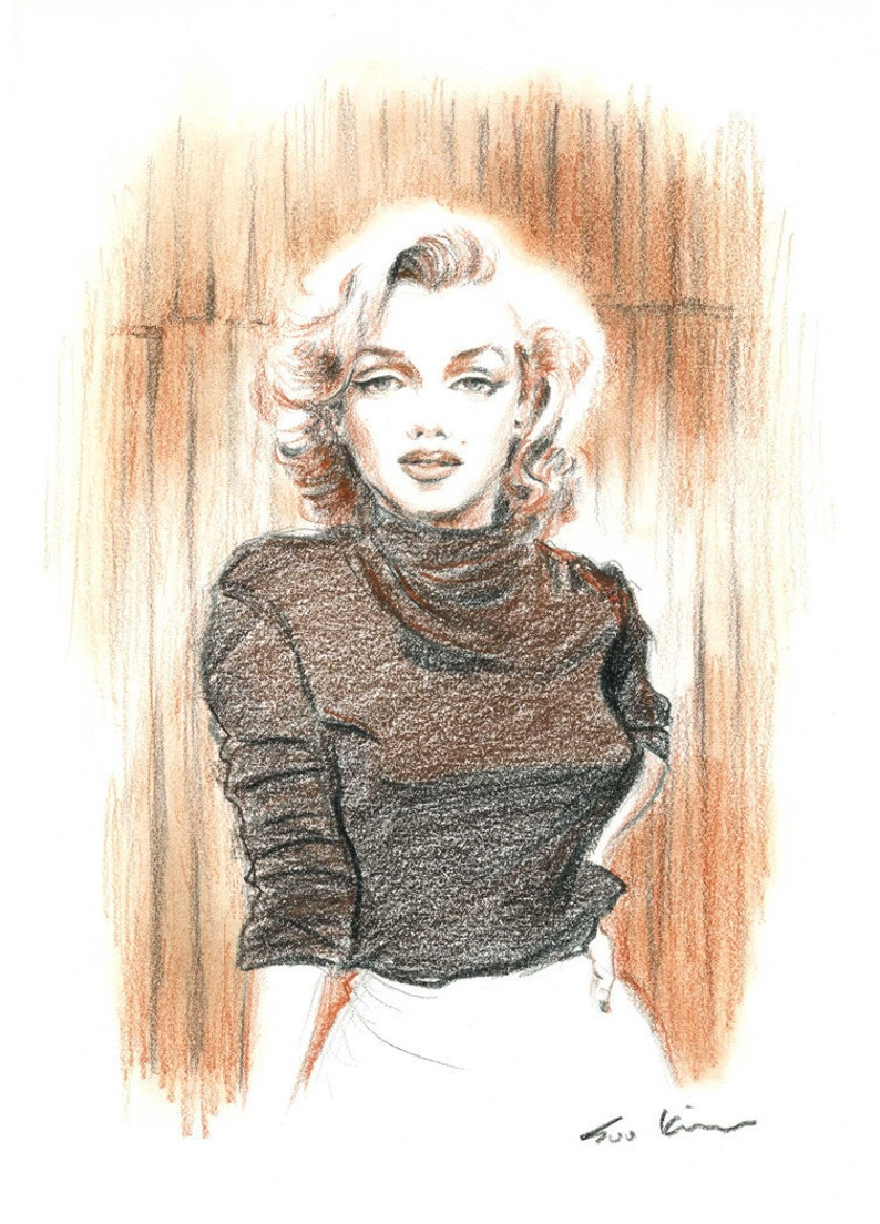 Marilyn monroe conte pencil drawing brown sepia retro