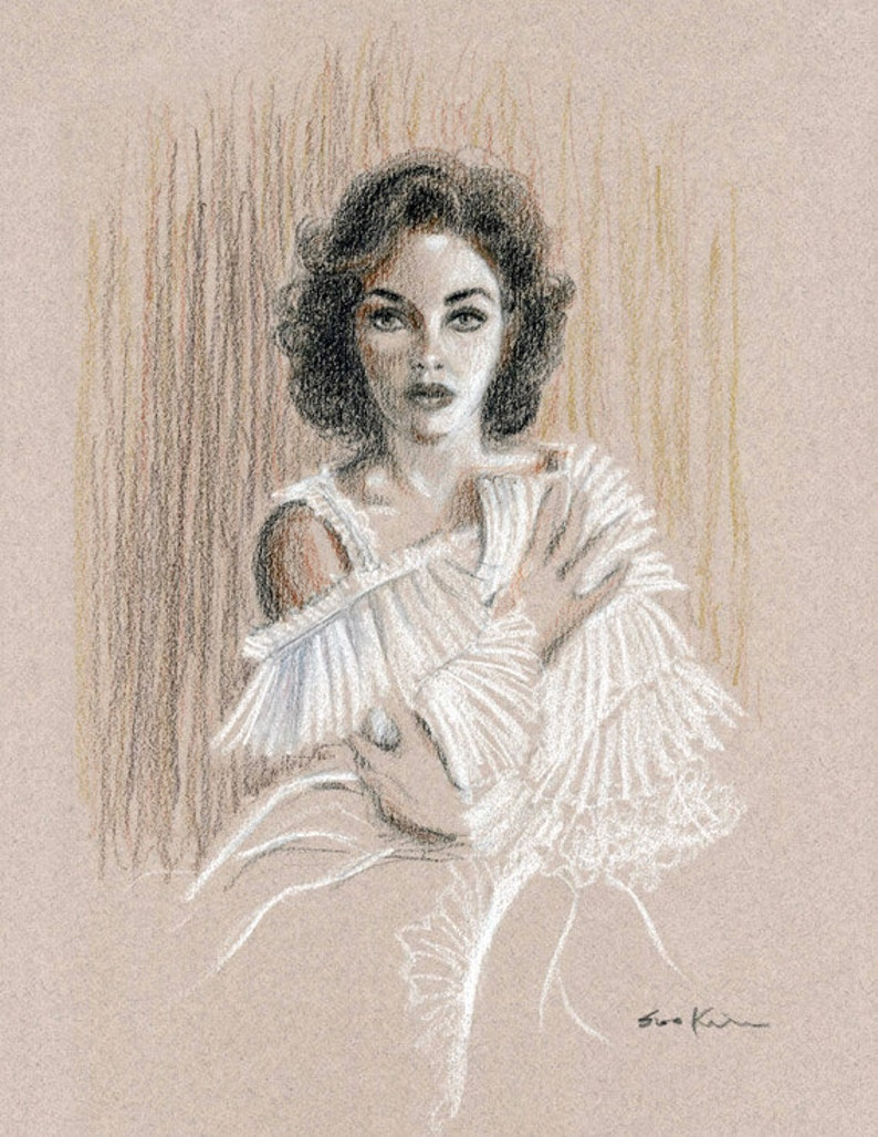 Elizabeth taylor portrait conte pencil drawing