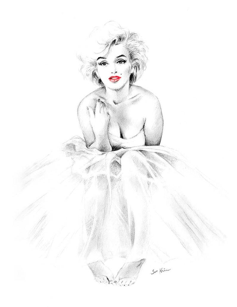 Marilyn Monroe Bailarina Blanco Y Negro Impresion De Dibujo