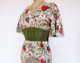 Spectacular VINTAGE 1950's Shantung Silk COUTURE Gown SPRING Carnival Dress