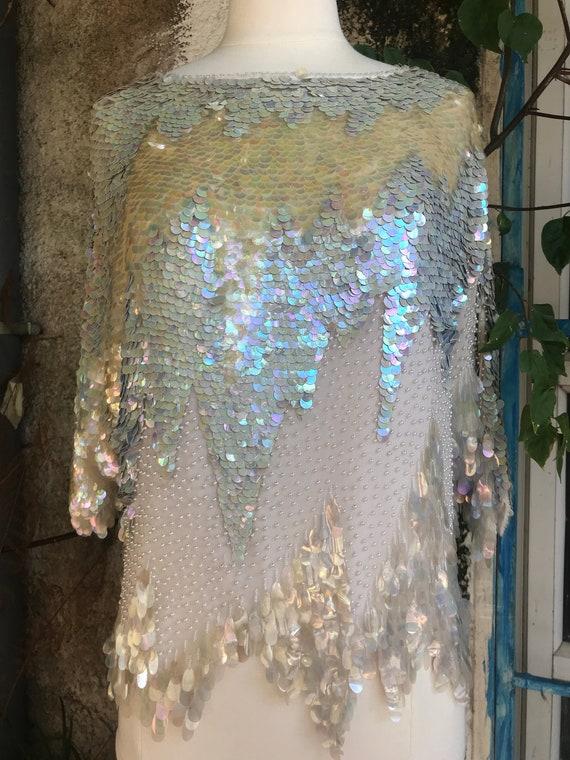 White Sequin Beaded Top/Sequin Trophy Top/Mermaid