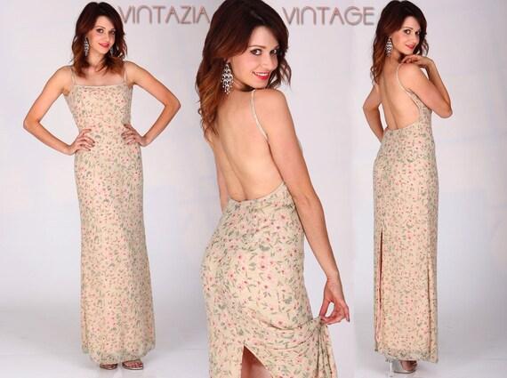 Vtg 80s Low Back Beaded Slit Maxi Dress