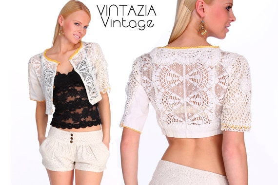 Vintage Crochet Top Cardigan One Of A Kind