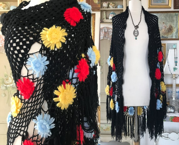 Vintage 70s Black Crochet