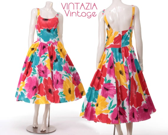 Vintage 80s Bold Floral Full Swing Dress Party