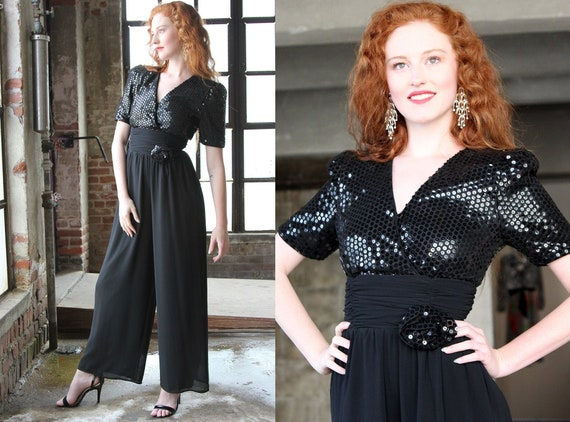Vintage Black Sequin Onesie Jumpsuit Pants