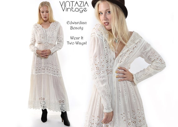 Edwardian White Dress/Lace Dress/Boho Wedding Dres