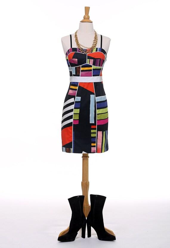 Black Abstract Sheath Dress - image 2