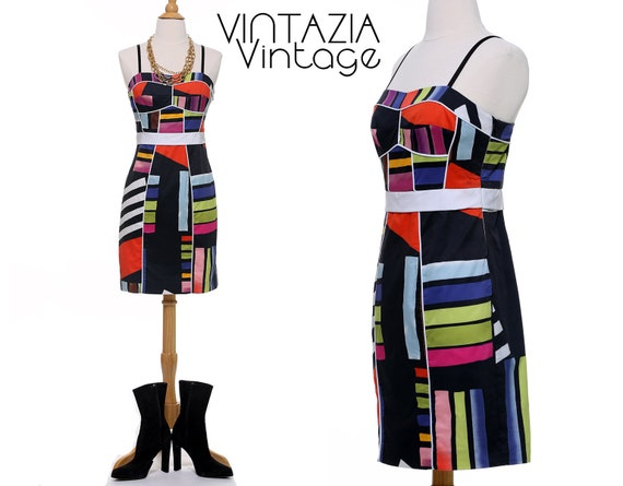 Black Abstract Sheath Dress