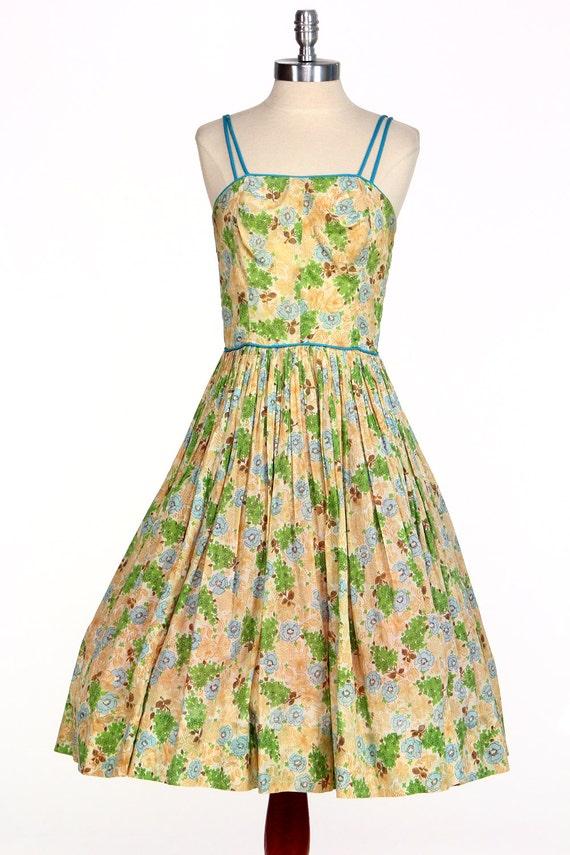 Vintage 50s Floral Dress Pin Up Julie Miller Sundr