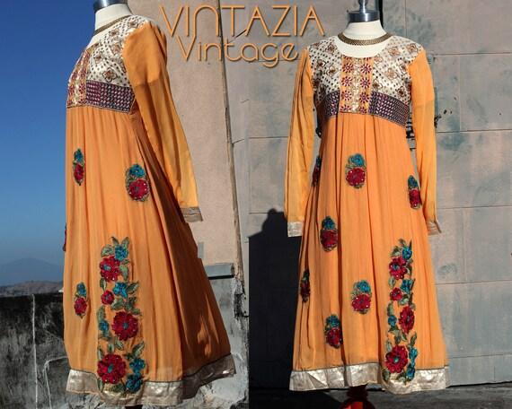 Vtg 70s Ethnic Metallic Dress