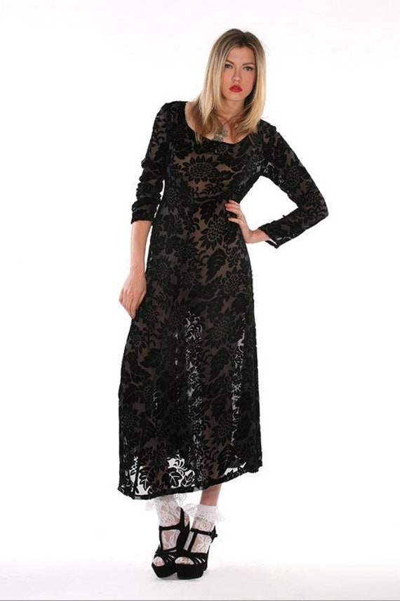 Black Sheer Burnout Velvet Floral Tie Back  Maxi D