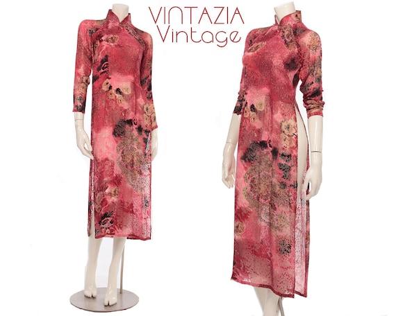Rare 70s Cheongsam Velvet Burnout Dress//Asian/Tun