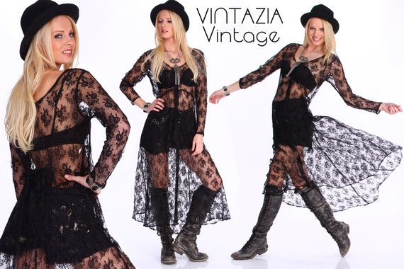 Vintage 70s Black Lace Maxi Dress, Sheer Lace, Boh