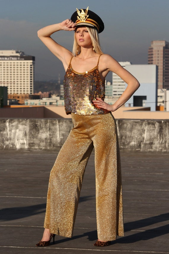 80s Gold Sequin Beaded Top/Low Back