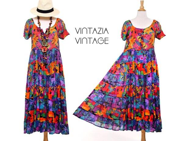 Vintage 80s Bold Hawaiian Print Floral  Maxi Dress