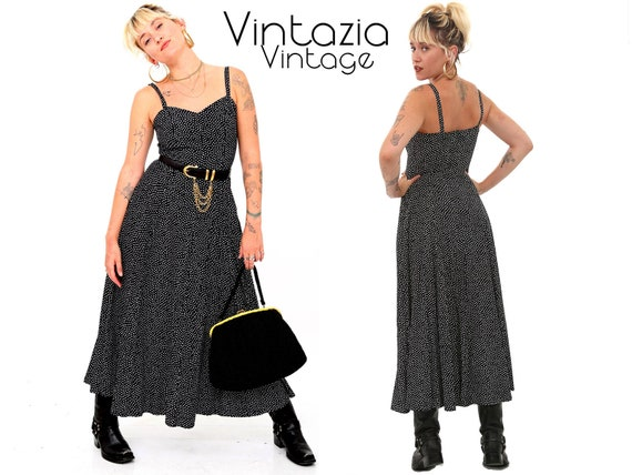 Vintage 80s Black and White Polka Dot Dress