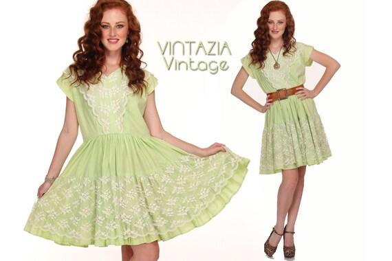 Vintage 50s Lace Dress Rockabilly Full Swing Lime