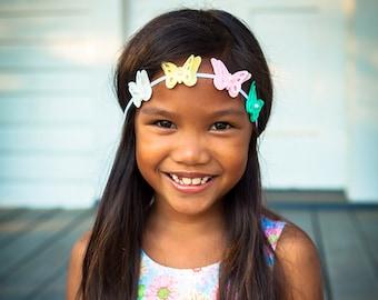 Felt Butterfly Headband,Butterfly Halo,Baby Headband,Toddler Girls Headband,Easter,Pink Mint Yellow White Butterfly Headband
