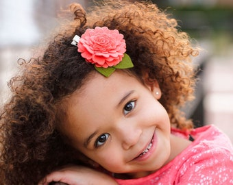Felt Flower Clip,Flower Headband Baby,Coral,Felt Flower Headband,Baby Toddler Girl,Nylon Headband Baby,Baby Girl Headband,Felt Hair Bow