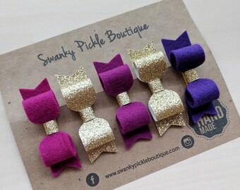 Felt Hair Bows,Mini Hair Bows,Purple Gold Hair Bows,Gold Glitter Hair Clips,Baby Hair Bows,Toddler Hair Bows,Baby Hair Clip Set