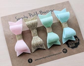 Felt Hair Clips - Pastel Felt Hair Bows - Gold Glitter Bow - Pink Mint Seafoam- Baby Toddler Girls - Wool Felt - Hair Clip Set - Gift Set