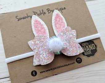 Bunny Ears Headband or Hair Clip,Easter Headband Baby,Glitter Bunny Ears,Pink Bunny Hair Clip,Easter Hair Bow,Bunny Hair Bow,Photo Prop