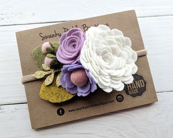 Baby Flower Headband,Baby Flower Crown,Baby Girl Headband,Lavender Purple Pink,Felt Flower Headband,Easter Headband,Felt Flower Crown,Spring