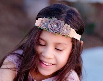 Rose Flower Crown,Felt Rose Headband,Peach Taupe,Rose Garland Headband,Felt Flower Headband,Halo Headband,Baby Flower Crown,Baby Headband