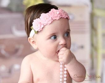 Felt Flower Headband - Flower Halo Headband - Pink Baby Headband - Baby Infant Toddler Girls - Pink Flower Headband - Photo Prop - Fairy