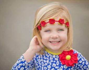 Felt Flower Headband,Red Rose Headband,Felt Rose Headband,Baby Floral Headband,Toddler,Newborn Baby Headband,Photo Prop,Floral Crown Baby