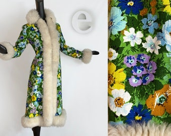 Ultimate MOD Vintage 60s 70s Hippie Coat! • Floral Fabric + Rhinestones with Genuine Shearling Lamb Fur Collar Cuffs & Trim • Spring Fall SM